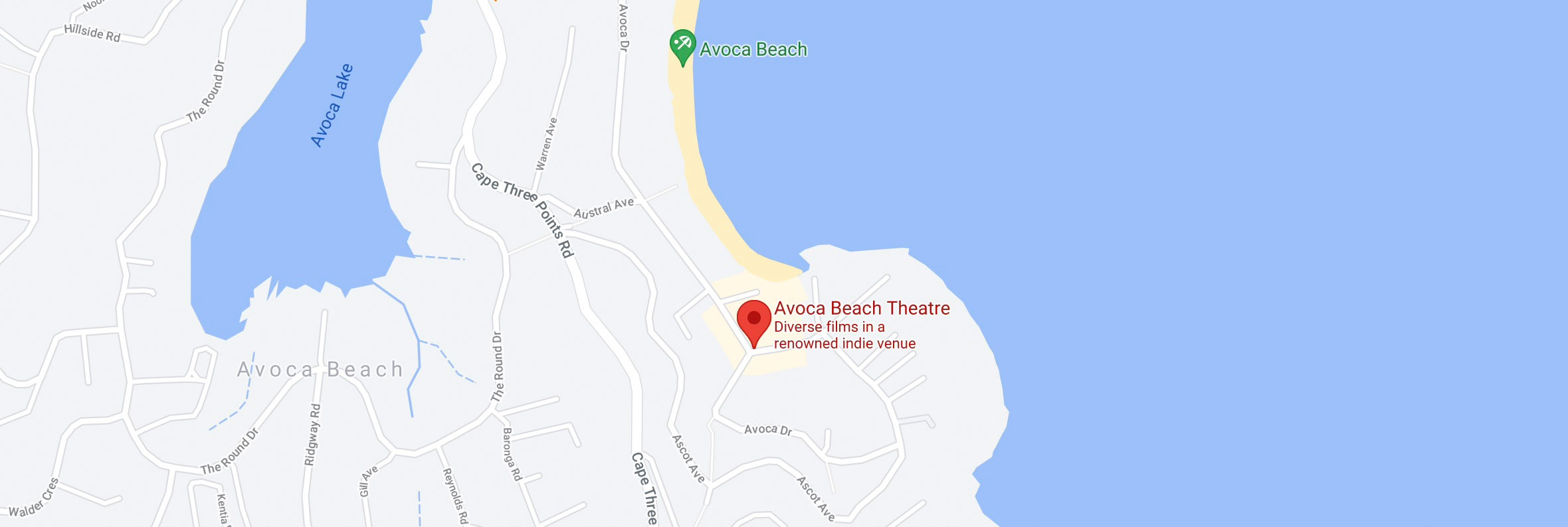 avoca beach theatre map new